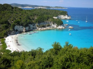 a great view from voutoumi beach in antipaxos island.