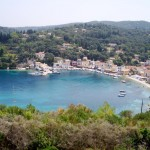a great full view of loggos port in paxos island.
