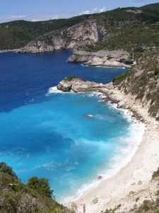 a great full view of galazio beach in paxos island.